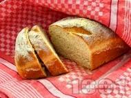 Домашен мек бял хляб с хрупкава коричка със суха мая на фурна